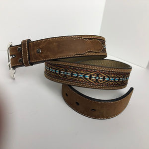 NoCona Belt Co. Brown Leather w Embroidery Design